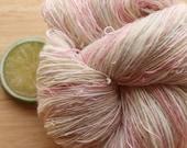Tutu - Handspun Wool Angora Sparkle Yarn Pink White