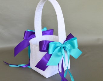 White Lace Wedding Flower Girl Basket with Purple and Turquoise Ribbon Bows