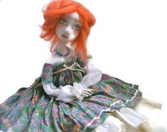 Art doll Monica  OOAK doll  Cloth Art Doll   Handmade   Soft sculpted Collecting doll Handmade art dolls