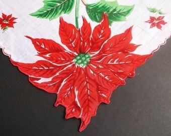 Holiday Hankie, Handkerchief, Ladies Handkerchief, Vintage Handkerchiefs, Hankerchief, Holiday Print, Red, Green, 1960s, All Vintage Hankies