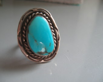 Vintage Sterling Silver Turquoise Ring Size 5.5 Navajo Southwestern Native American