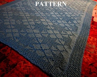 Knit Baby Blanket Pattern, Knitting Pattern, Worsted Weight, Knit Purl Stitch Only, Chart Pattern Included **Instant Download**