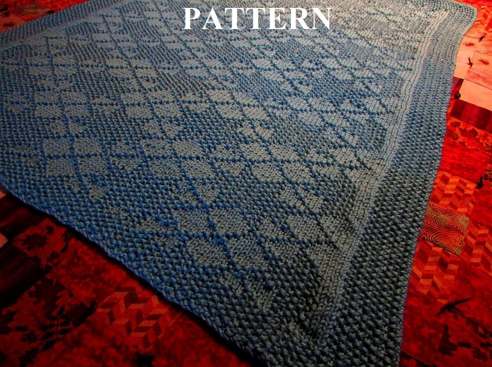 Knit Afghan Patterns Worsted Weight : Knit Baby Blanket Pattern, Knitting Pattern, Worsted Weight, Knit Purl Stitch...