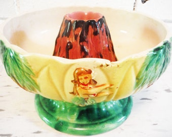 Hawaiian party bowl serving orchids of hawaii hula girl lava volcano poi server mid century kitsch island decor luau tiki