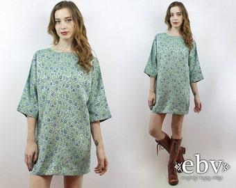 Vintage 70s Green Floral Kimono Carpet Dress L XL Vintage Kimono Bell Sleeve Dress Hippie Dress Hippy Dress 1970s Dress 70s Dress