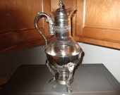 Vintage Silver Plated Glass Coffe/Tea Carafe with Silver Plated Warmer