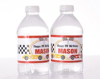 Racecar Birthday Decorations - 25 Birthday Party Water Bottle Labels, Birthday, etc - Waterproof and self stick - Race Car Birthday