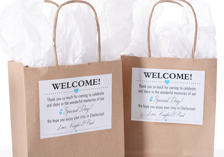 hotel wedding welcome bags 25 out of town welcome by labelsrus
