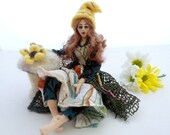 Cloth Art Doll poseable fairy green yellow colour shelf sitter gnome Fin Folk