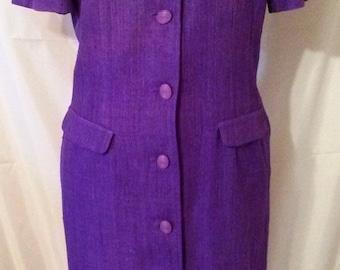 "LABOR DAY SALE 80s Vintage Front Button Coat Dress Sheath-Size 10-Medium-42"" Bust-Waldorf-William Pearson-High End-Purple Linen Day Dress"
