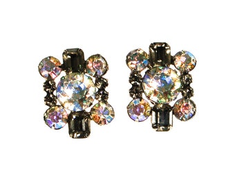 Smoke and Aurora Borealis Rhinestone Statement Earrings, Clip On, 1950s, 1960s, Old Hollywood Glam