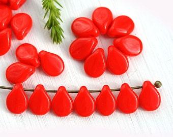Red PiP beads, czech glass flat drops, top drilled, Preciosa, teardrops,  5x7mm - 40Pc - 2821