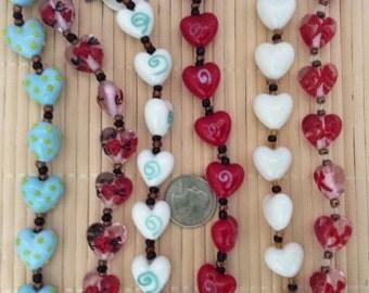 Heart Design Lampwork Handmade Glass Bead (12 beads pack)