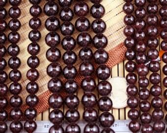 Natural Garnet 8/10/12mm Round Beads Strand, 15.5-Inch Strand G01014