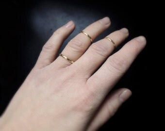 Set 3 Solid Gold Knuckle Rings - Stacking Rings - 10k Yellow or White Gold - Made to Order