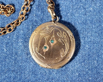 Antique Locket Gold Tone Locket Necklace Double Face Locket Long Chain Monogram French Victorian Jewelry