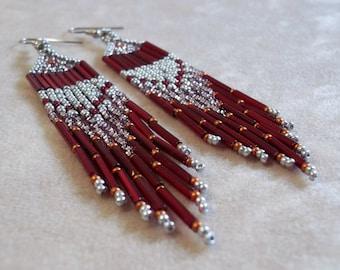 Silver and garnet long fringe seed bead earrings, dramatic earrings, bold earrings, colorful earrings, red earrings, boho earrings, silver