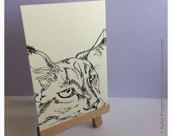 "Cat - ACEO PRINT, Black and White, Line Drawing, Animal Art, ""Line Cat"", PRINT from Original Art - Unique Gift"