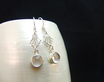 Rose Quartz Sterling Silver Drop Earrings,