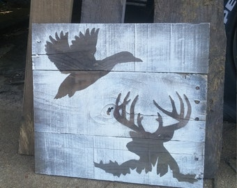 Buck and duck picture, Pallet wood sign, Rustic hunting decor, Father's Day Gift, Gift for him, Man Cave Decor, gift for dad, hunter gift