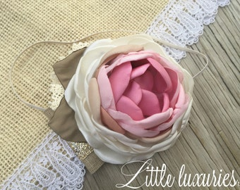 Penny Laine- Ombre Pink Peony,pink, bubblegum, nude, cream, rose flower, satin flower, satin and lace, headband