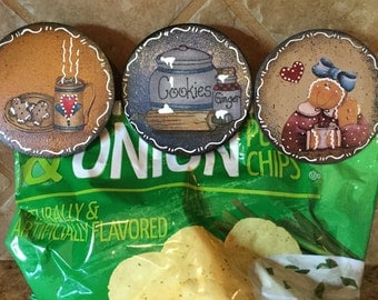 Gingerbread Chip Clips Housewarming Gift Ginger Lover Cottage Chic Chip Savers Country Kitchen Ginger Kitchen Country Handmade  Set Three