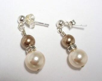 Bronze & Creamrose Pearl Earrings, Handmade Swarovski Bronze and Creamrose Pearl Earrings