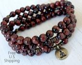 108 mala, Red Tiger eye, Om, Mala Bracelet or Necklace,Reiki charged, Buddhist Rosary,Prayer beads, Gemstone, wrist mala, Lotus, buddha, ohm