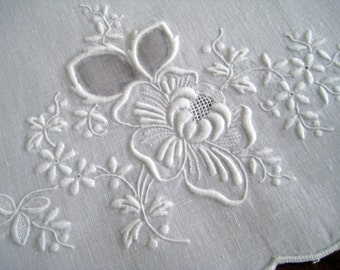 Vintage Guest Hand Towel - White Work Linen With Organdy Inserts - Floral Raised Embroidery