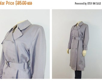 CLOTHING SALE Vintage Coat London Fog Maincoat Gray Trench Coat Belted Double Breast Large - XL