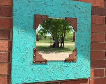 Shabby chic western decor mirror
