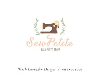 Custom Logo Design Premade Logo and Watermark for Photographers and Small Crafty Businesses Hand Drawn Sewing Machine & Flowers Shabby Chic