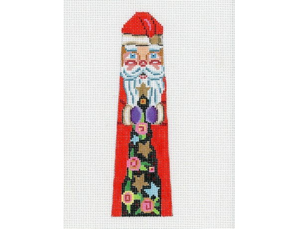 Handpainted Needlepoint Santa Bookmark Ornament - Red and Green - Needlepoint Santa - with Christmas Tree