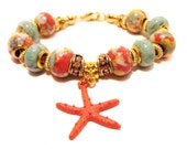 Salmon, Green and Yellow Shell Resin Euro-Style Beaded Charm Bracelet with Starfish Charm