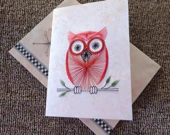 Hand stitched owl on a branch note card.