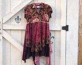 Hold on Layaway...Bohemian Lagan L/XL brown plum floral dress gypsy tattered upcycled fashion dress
