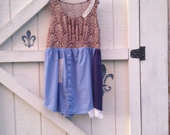 Hippie dress L, upcycled dress, rustic Romantic clothing
