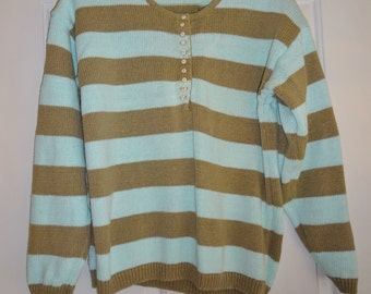 Vintage Sweater Striped Aqua Taupe Tan Club Sportif De Paris Large L Women's  Long Sleeve