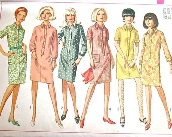 """Simplicity Dress Pattern No 6970 UNCUT VIntage 1960s Size 12 Bust 32"""" Short or Long Sleeves Shirt Dress Front Button 2 Lengths Button Down"""