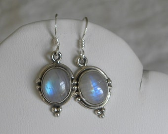 "Moonstone Earrings Handmade Earrings Blue Semiprecious Gemstone 1"" Sterling Silver Earring Take 20% Off Women's Bridal Moonstone Jewelry"