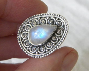 Moonstone Ring Handmade Fine Rainbow Blue Flash 13x8mm Gemstone Ring Sterling Silver Ring Size 8.75 Take 20% Off Rainbow Moonstone Jewelry