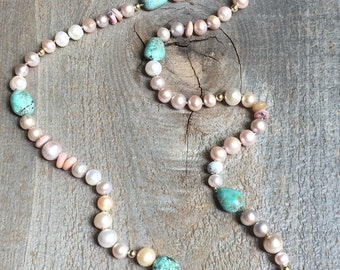 Long freshwater pearl and turquoise necklace