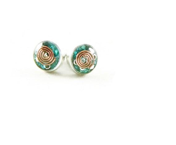 Orgone Energy Tiny Circle Post Earrings - Stud Earrings - Turquoise Gemstone - Simple Earrings - Minimalist - Orgone Energy Jewelry