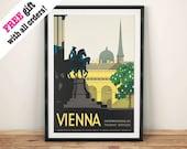 WIEN REISE POSTER: Vintage Österreichischen Anzeige Kunstdruck Wand Hängen
