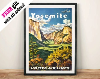 YOSEMITE PARK POSTER: Vintage Airline Travel Advert, Mountain Art Print Wall Hanging