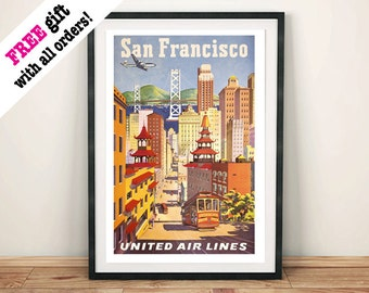 SAN FRANCISCO POSTER: Vintage Travel Advert, Art Print Wall Hanging