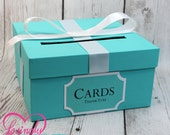 Card Holder Box with Sign in Light Teal & White -  Gift Money Box for Any Event - Wedding, Bridal Shower, Birthday, Baby Shower, Engagement