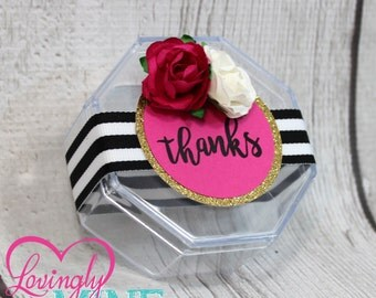 Hot Pink, Glitter Gold, Black & White Stripes, Peonies Clear Plastic Favor Boxes - 1 Dozen - Fully Assembled or DIY