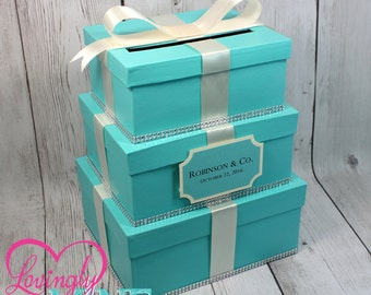 Card Holder - 3 Tier Box -  Gift Money Box with Card Sign in Light Teal and Ivory - Baby and Company, Bride and Company, Designer Inspired