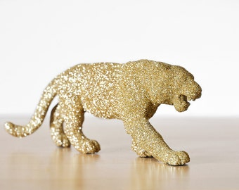 Tiger Jungle Safari Cake Topper, Baby Shower Decorations in Gold Glitter for Boys or Girls Wild Nursery Decor or Wedding Cake Topper